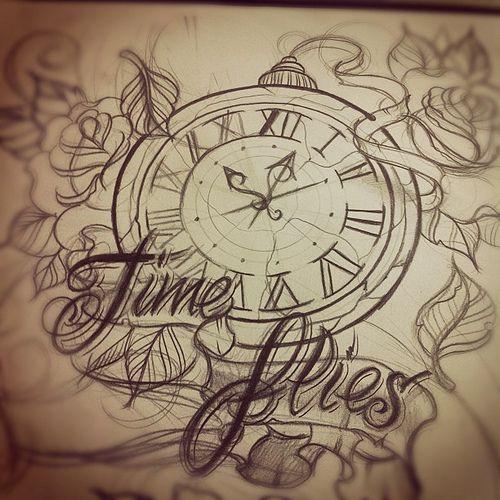 Time flies tattoo design sketch #time #timeflies #tattoo #sketch | Flickr - Photo Sharing!