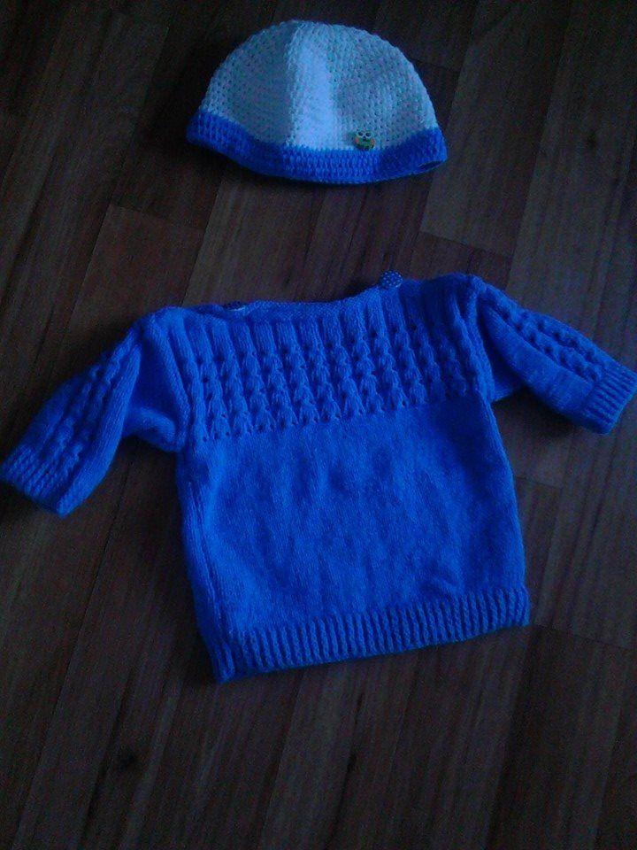 Komplet pro synka :) svetřík pletený od babičky, čepička háčkovaná mnou :)