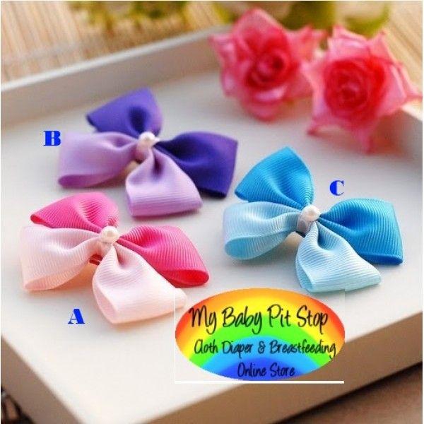 Clippies - Korean 2-Colored Satin Ribbon Bow Clippies (1pair)