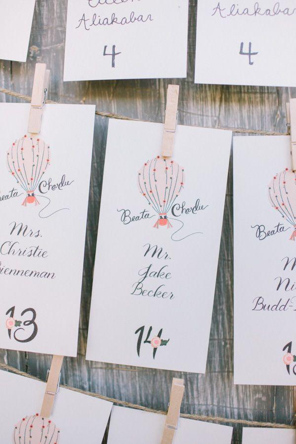 hot air balloon escort cards #weddingreception #escortcards #weddingchicks http://www.weddingchicks.com/2014/01/31/vintage-barn-wedding-2/