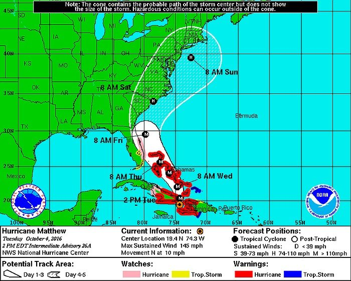 Hurricane Matthew has made landfall in Haiti and the National Guard is making preparations in Florida as the storm approaches the United States. Though it's still too early to make definitive statements about its path, the storm is still a Category 4 and its recent westward shift makes it possible that Long Island, NY could be seeing significant impacts from the storm this weekend. Click below for the latest weather update and stay updated on the storm's progression by visiting the…