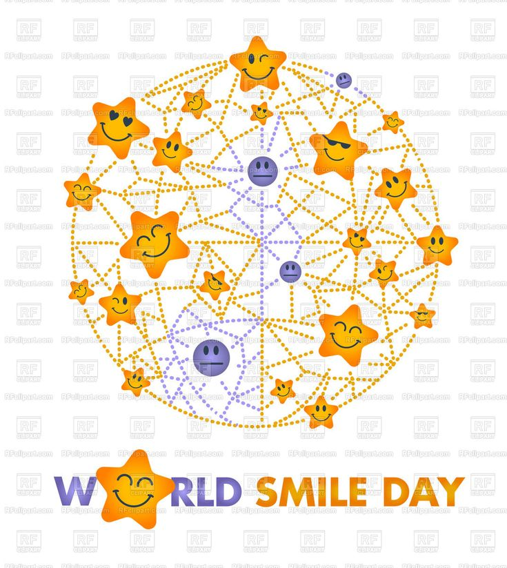 Royalty Free Vector image of Greeting card design. Holiday - World Smile Day. #185467 includes graphic collections of world, smile and Holiday. You can download this image clipart in EPS and JPG format. #rfclipart.com #vectorart #vectorclipart #vectorstock #graphicdesign #diseñográfico #graphisme #grafikdesign #графическийдизайн