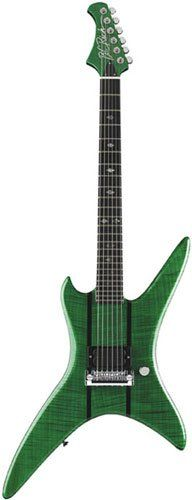 B.C. Rich handcrafted Stealth Deluxe Electric Guitar, transparent emerald green.