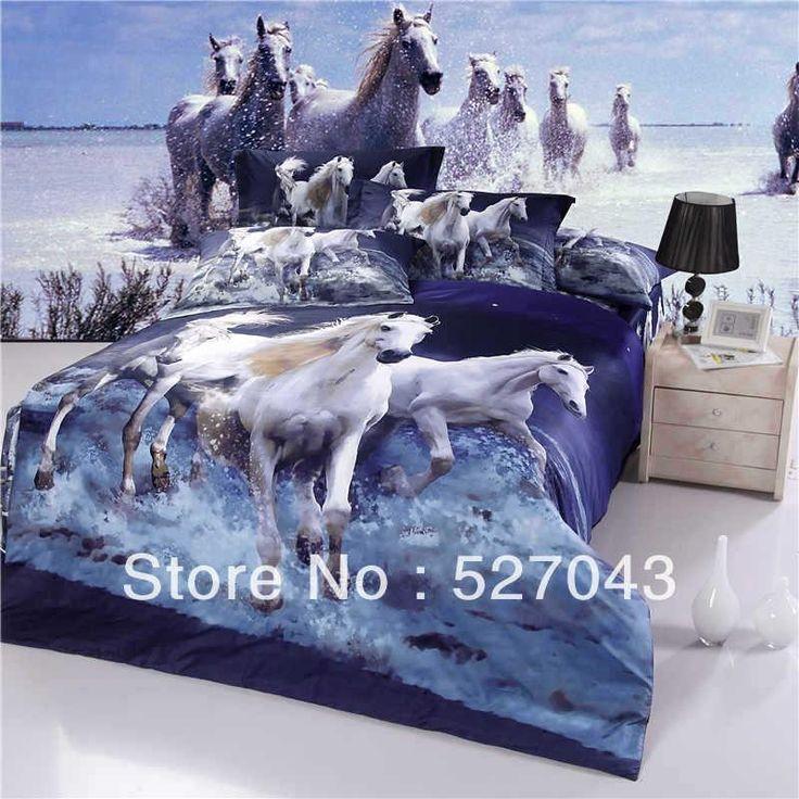 wholesale bed in a bag buy horse 3d oil print comforter bedding set or sets duvet cover