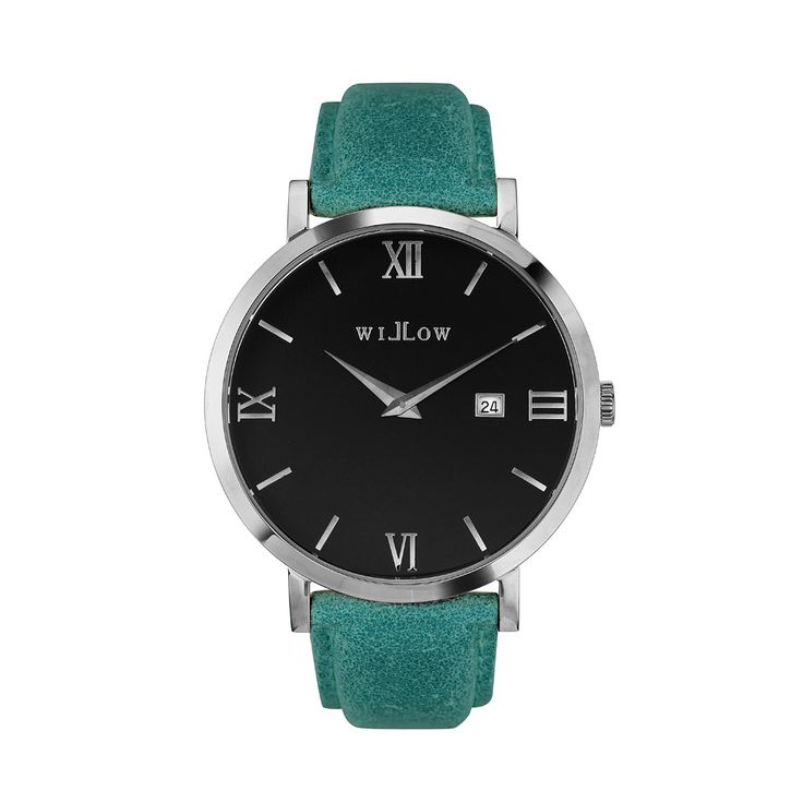Treviso Silver Watch & Interchangeable Teal Leather Strap.