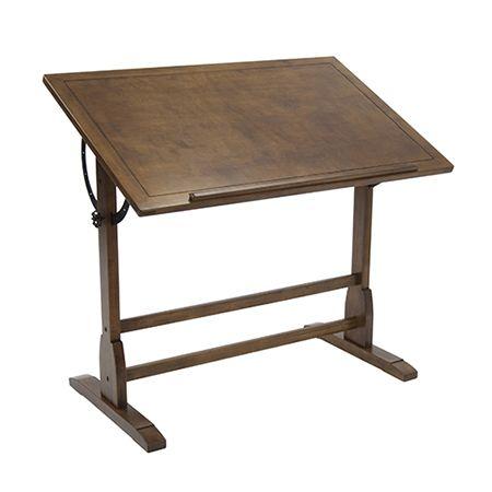 Cette table à dessin de style vintage classique est faite de bois solide pour une bonne stabilité, avec un fini chêne rustique. Aussi belle que fonctionnelle autant pour la maison, le bureau ou l'atelier, cette table à dessin peut être réglée de 0 à 90 degrés et comprend un rebord de 24 pouces pour crayons.