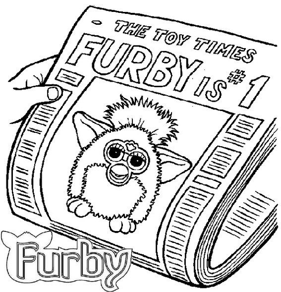 Furby On Newspaper Coloring Page Coloring Pages Kids Coloring Books Cartoon Coloring Pages