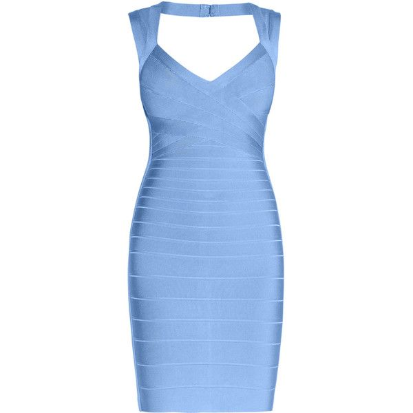 Herve Leger Sarai Signature Essentials Dress ($1,050) ❤ liked on Polyvore featuring dresses, open back dresses, bandage dress, hervé léger, blue dress and open back bandage dress