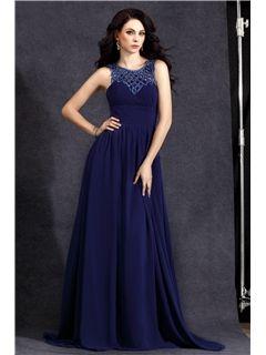 Elegant A-Line Floor-length Scoop Polina's Evening Dress