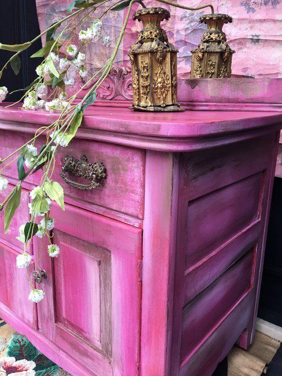 Pink Bedside Table: Sold Bohemian Pink Vintage Cabinet Bedside Table Shabby