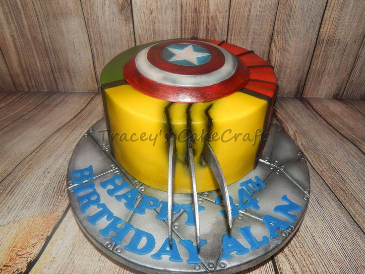 Wolverine.   Simple Marvel super hero cake.