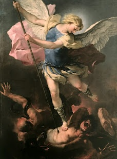 St. Michel, c1663, by Fa Presto. I know nothing about this artist and there's no Wiki on him. But I love this painting. Check out the Baroque movement of the figures and the use of light and shadow to separate good and bad. This artist clearly studied Michelangelo's Last Judgement fresco, featuring the same dramatic hell like environment with dark shadows and crippled bodies. I'll update this pin if I find out more about it.