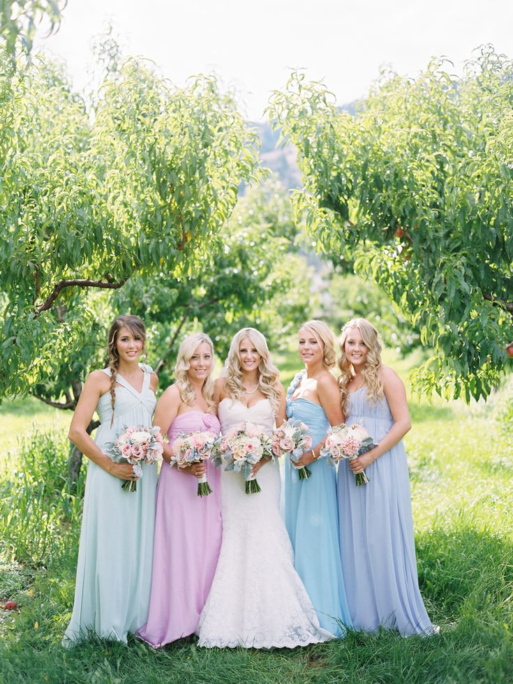 #Bridesmaids | Beautiful Color Palette | See the wedding on SMP: http://www.StyleMePretty.com/2013/12/05/orchard-wedding-from-ryan-ray-photography/ Ryan Ray Photography