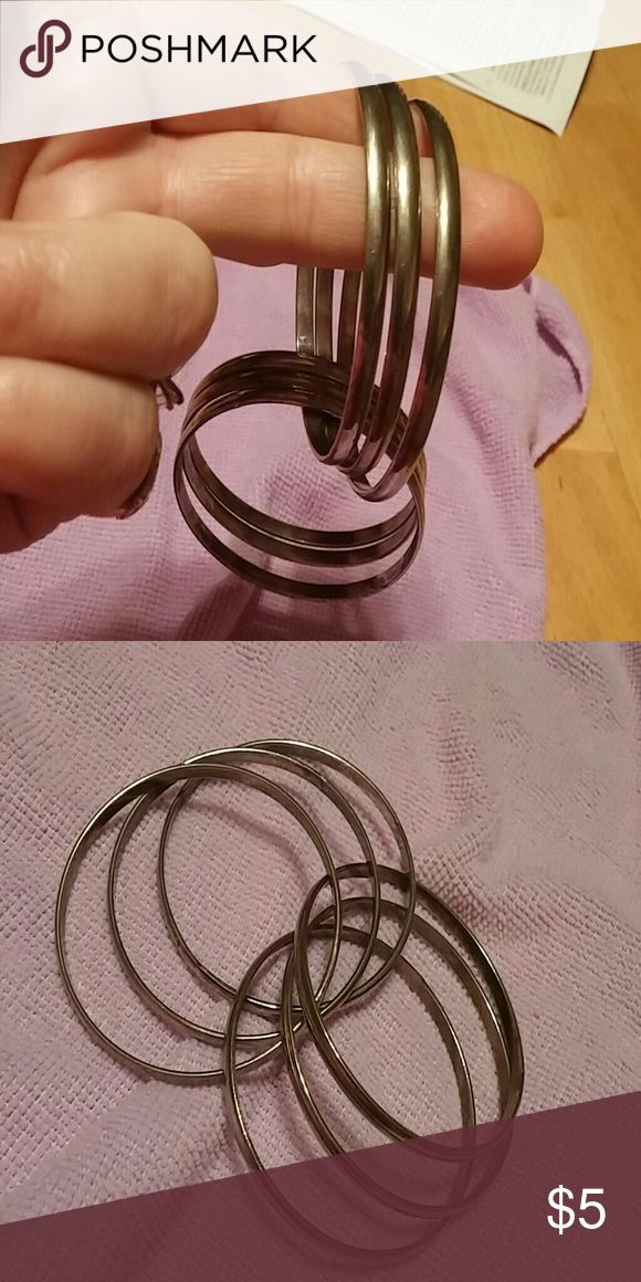 """6- Intertwined """"steel By Design"""" Bangles!! This Bangle is so cool !! 6- Bangles. All together :)) It will fit a small/ Med. Hand,  all stainless steel from QVC Too small for my hands Steel By Design Jewelry Bracelets"""