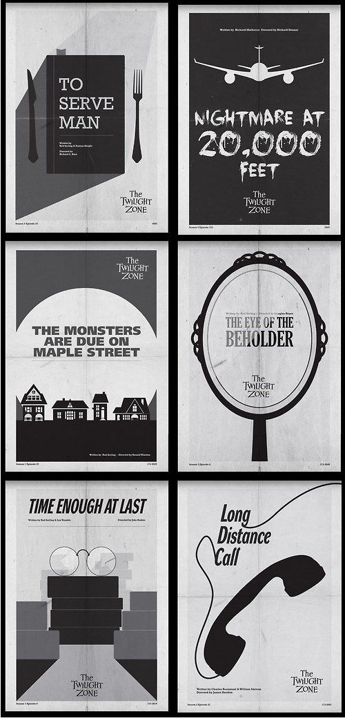 Classic Twilight Zone Posters All my favorite episodes, these would make great wall art, between my bookshelves of course.