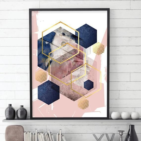 Poster Digital Download In Blush Pink Navy Blue And Gold Etsy Blue And Pink Living Room Scandi Decor Abstract