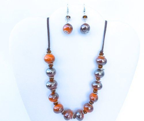 Betty Cardenas Designs Brown 18 Mm Beads, Czech Crystals and Leather Earrings-necklace Jewelry Set Betty Cardenas Designs. $40.99