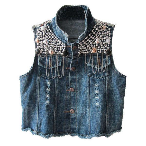 Dark Blue Washed Denim Vest with Paillette Embellishment (85 CAD) ❤ liked on Polyvore featuring outerwear, vests, jackets, tops, crop vest, vest waistcoat, sleeveless vest, denim waistcoat and sleeveless denim vest