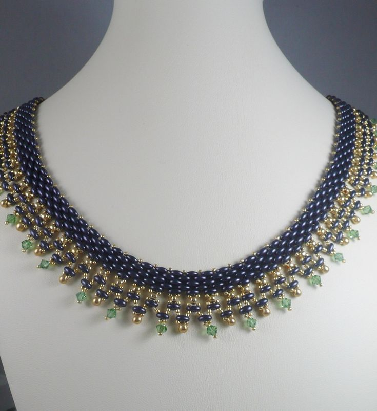Woven Twin Bead Necklace Purple and Green by IndulgedGirl on Etsy