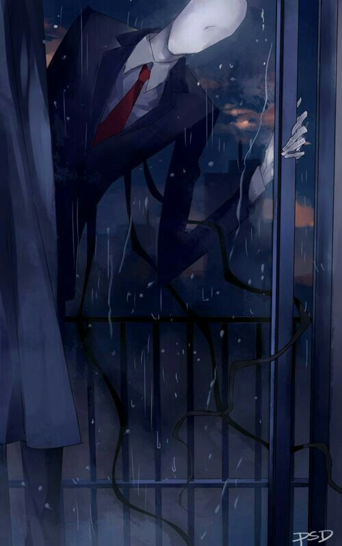 Slenderman, text, window, raining; Creepypasta