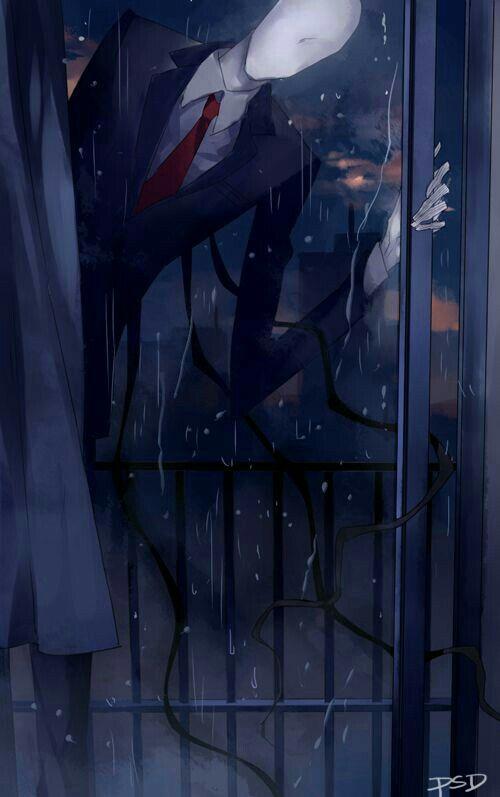 Slenderman, text, window, raining; Creepypasta