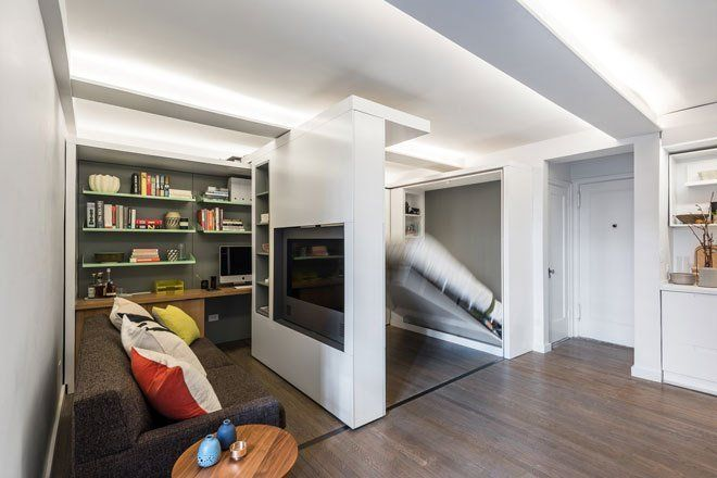 MKCA designed this 5 in 1 390 sq foot NY apt using a sliding wall - küchen modern design
