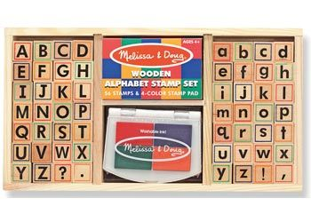 Melissa & Doug Alphabet Stamp Set Write exciting messages with this beautifully organised wooden alphabet stamp set. It includes 56 letters (upper and lower case), punctuation marks and a 4-colour stamp pad. Includes a convenient wooden storage tray. $42 and in stock. For more information follow this link http://www.shellstreasures.com.au/#!product/prd1/1215351401/melissa-%26-doug-alphabet-stamp-set