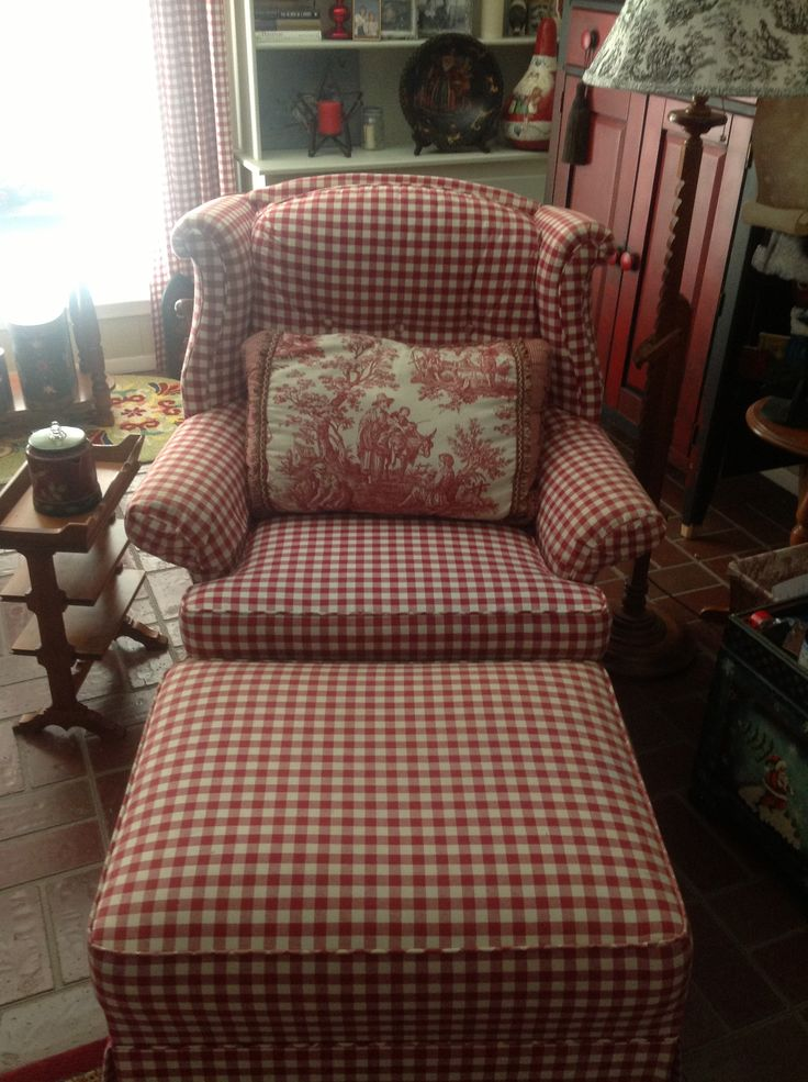 I have been looking all over for a red and white gingham chair and ottoman. I need this!