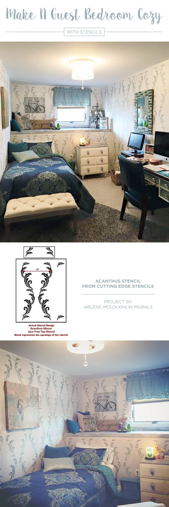 220 best flower stencils decor images on pinterest stencil a stenciled guest bedroom accent wall using the acanthus allover stencil a popular flower wall amipublicfo Image collections