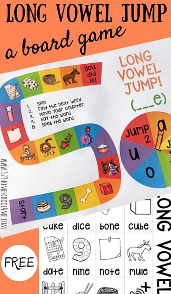 free long vowel jump board game - Free Printable Games For Kids