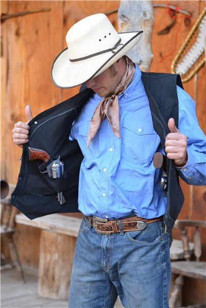 CONCEALED CARRY VEST 10 Ounce Finest QualIty Canvas Shell Concealed Carry Holsters Western Yoke Reinforced Stitching Throughout