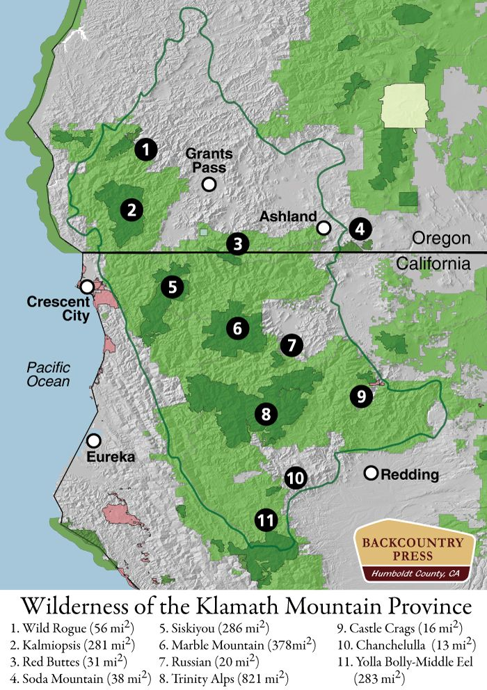 the eleven wilderness areas within the klamath mountain province