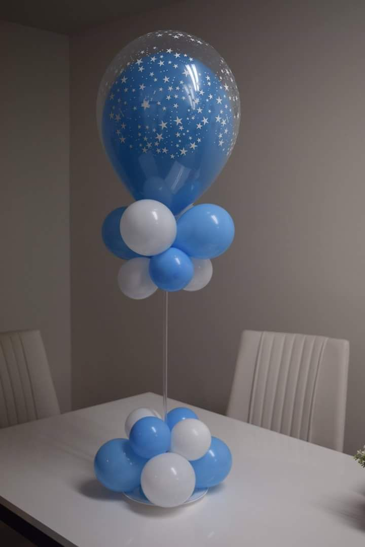 Blue And White Star Printed Balloons For Thanksgiving Home Decoration