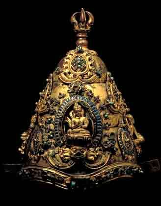 Vairocana, Ritual Crown, Nepal, 12th Century, Nepali and Tibetan Sculpture: The early phase-LOS Angles CCU Museum of ART, Calfornia