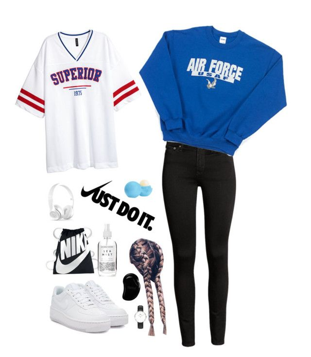 """My fav outfit ❤️💙🖤"" by ola-kruszyk on Polyvore featuring moda, NIKE, Eos, Herbivore, Tangle Teezer i Daniel Wellington"