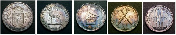 1932 Southern Rhodesia proof coin set - Percy Metcalfe designed the obverse bust of George V