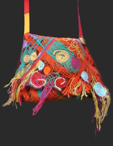 Russian made Yaga handbag; Yaga textile studio creates handmade fabrics with unique texture effects based on patented technology. ove the texture and the colors!