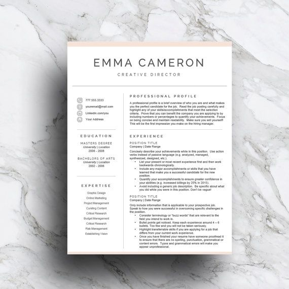 Creative Resume Template for Word CV Template by templatestudio