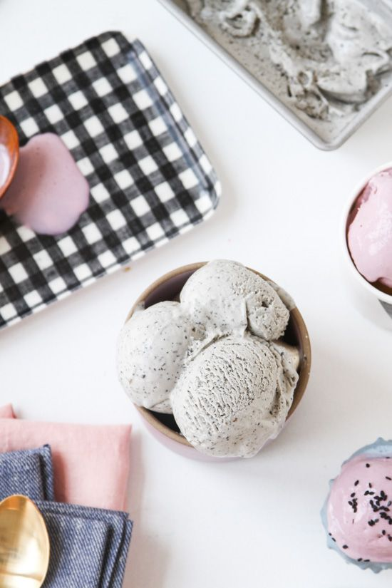 Try this unique ice cream combo with a taro and black sesame ice cream recipe.