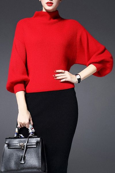 Blueoxy Red Turtleneck Ribbed Sweater | Sweaters at DEZZAL