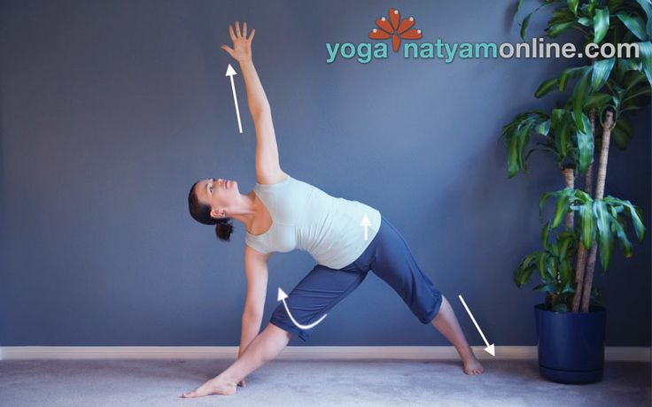 Triangle Pose - Trikonasana - A powerful yoga pose to: *Stretch and strengthen the legs and hips, especially the hamstrings and groins *Stabalize the sides of the torso, open the chest, and create traction for a lengthened spine *Increase muscular endurance *Open the heart chakra