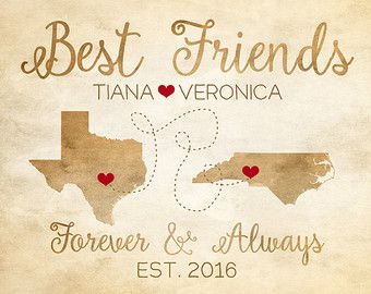 Long Distance Friendship Maps, Gift Idea for Best Friend, Moving Away, Sisters, Childhood Friends, Texas, North Carolina, Choose Map | WF131
