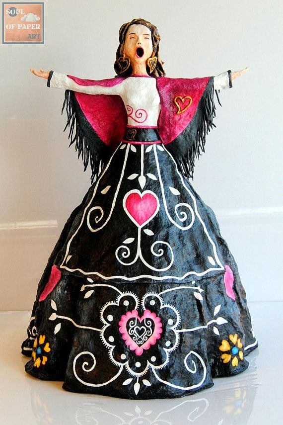 Fadista  Paperclay Sculpture  Handmade / by SoulOfPaperArt on Etsy, $338.00