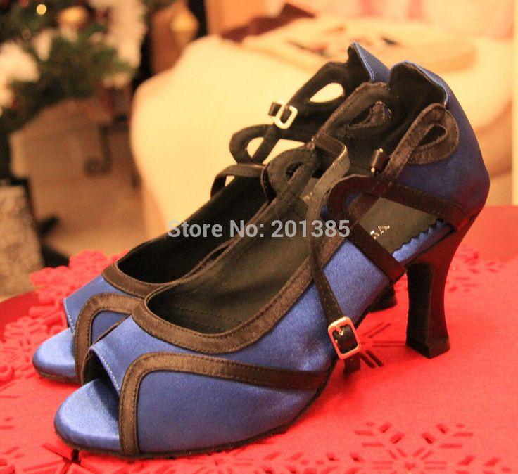 Оптовая Женщины Синяя Атласная Бальные Танцевальная Обувь САЛЬСА Танцевальная Обувь Танго Обувь