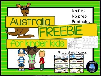 Australia for Kinder Kids FREEBIE contains a Label the Emu activity, Counting by 2s activity and 8 Australia Word Wall cards.