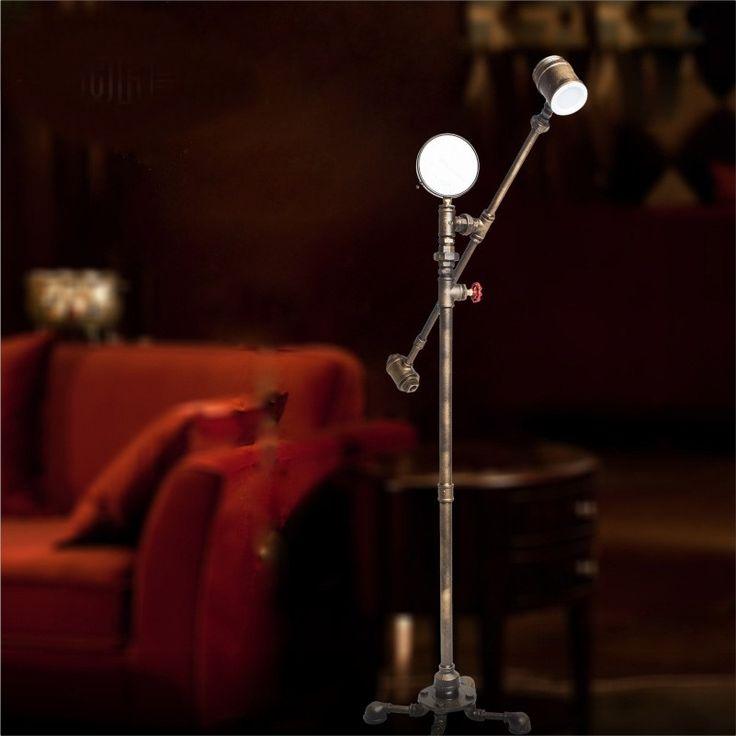 (172.50$)  Watch more here  - Latest Novelty Modern Water Pipe Floor Lamp Edison Bulb Fixture Lighting for Home Livingroom Bedroom Restaurant