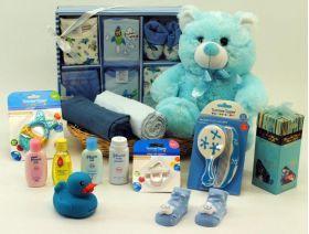Newborn Baby Basket Essentials Blue | Baby Shower Gifts | Nappy Cake | Baby Baskets Sydney | Baby Gift Baskets