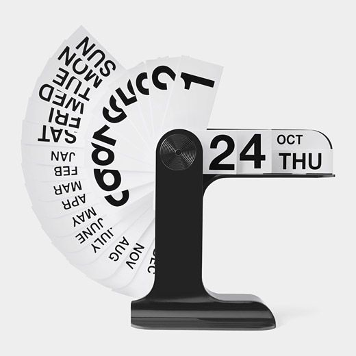 Timor Perpetual Calendar by Enzo Mari, momastore: Flip it to display the day of the week, date, and month. #Calendar
