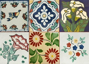 A few samples of the colorful hand painted Talavera tile available in over 150 patterns at Vargas Tile in Taos, NM