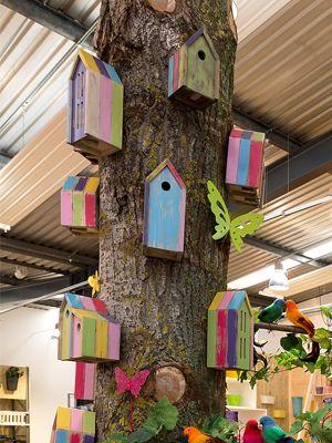 Prachtige collectie kleurijke vogel, vlinder, voederhuisjes. Met de vrolijke sprekende felle kleuren als blauw, groen, geel, roze en paars is het vogelhuisje een leuke accessoire in iedere tuin.
